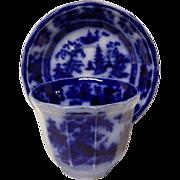 William Adams & Sons Tonquin Flow Blue Cup & Saucer