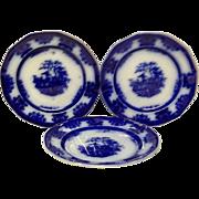 "Set (3) Lovely  Amoy Flow Blue 7 1/4"" Dessert Plates"