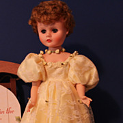 Vinyl Fashion Doll in yellow lace and satin gown - 24 Inches tall
