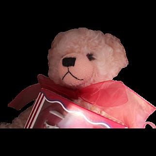 "HERMANN BEAR, ""ENGLISH ROSE WITH TEA SET"".  LARGE PINK MOHAIR JOINTED BEAR IN ORIGINAL BOX WITH GERMAN MADE ROEHLER ROSE TEA SET"