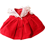 Vogue tagged doll dress, red velveteen with lace color, original snaps.