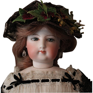 """Francois Gaultier Lady Doll - Size 3 -16 inches tall with Excellent bisque and body - antique costume including shoes that are marked """"3"""""""