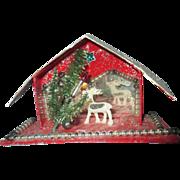 Vintage Putz era Mica house Christmas scene