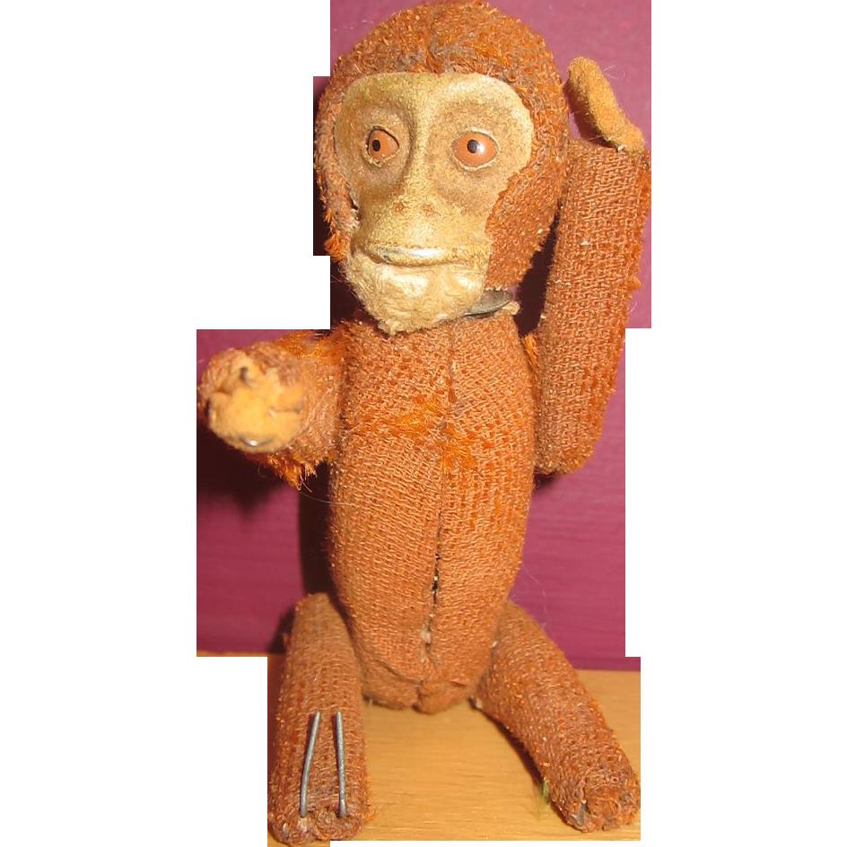 Very old small Schuco monkey perfume bottle hidden inside vintage mohair chimp