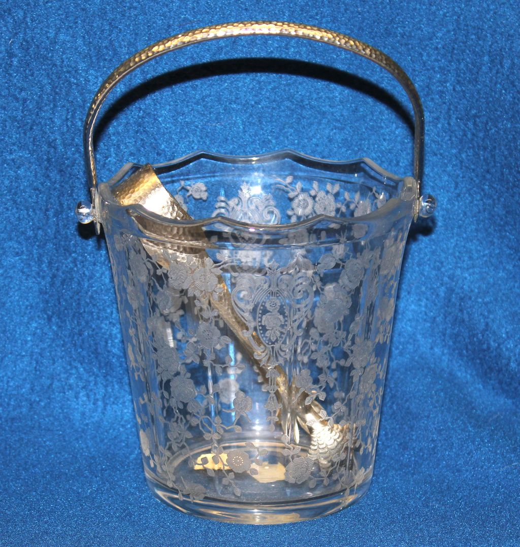 1930's Cambridge Glass Rose Point Etched Ice Bucket with Original Handle & Tongs