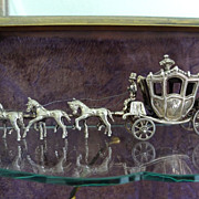 Antique Silver Carriage, Horsemen, and Team of Horses