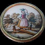 Round Eglomise Box with Provenance