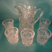 Child's Pressed Glass Water Set,Rex