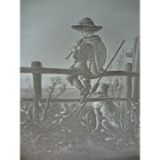 German Lithophane of Boy on Fence
