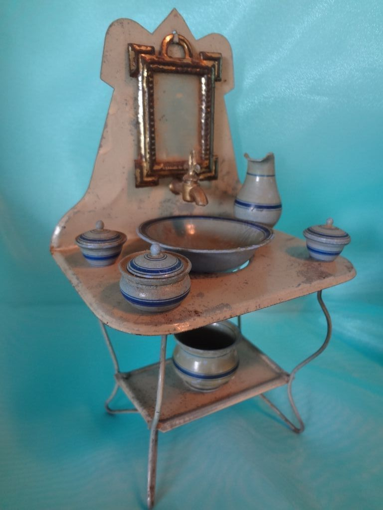 Early Tin Sink with Mirror and Treen for Large Doll House Scale