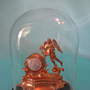 Gilt Metal Mantel Clock under Glass Dome for Doll House