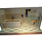 German Tin Bathroom with Bath Tub and Toilet
