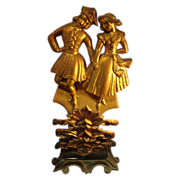 Antique English Brass Figural Mantel Piece