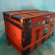 Doll Trunk Wood and Burlap with Till Compartments