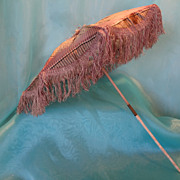 SALE Doll's French Parasol with Original Fringe and Carved Handle