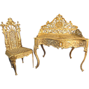 Doll House Soft Metal Desk with Gilt Filigree Highlights and Chair