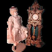 Doll House Gilt Metal Tall Case Clock