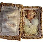 Wicker Basket with Celluloid Kewpie Type Pincushion Doll