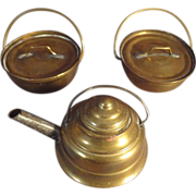 Set of Two Miniature Brass Pots and Tea Kettle Doll House
