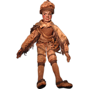 Early Carved Wooden Doll in Original Costume