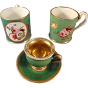 Two Dresden Porcelain Cups and Miniature Cup and Saucer