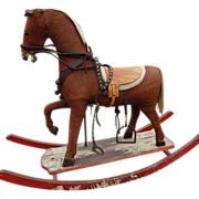 Antique Rocking Horse Prancing with Tackle
