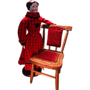 Very Early Doll's Chair with Velvet Seat and Back