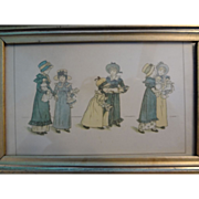 Framed Illustration of Victorian Girls with their Dolls