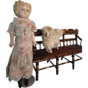 Early German Papier-Mache Blonde Hair Doll on Original Body