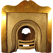 Early Cast Iron and Brass Miniature Fireplace