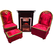 Pair of Upholstered Doll Chairs and Ottoman