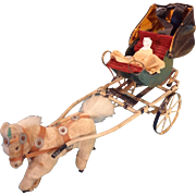 SALE Miniature Cart with Frozen Charlotte and Horse