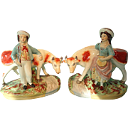 REDUCED Pair Staffordshire Figures of Lady and Gentleman with Cow