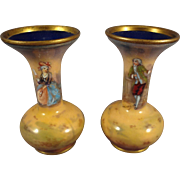 Pair of Miniature French Enamel Enamel Vases Signed
