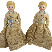 Pair of Twin Doll House Dolls with Blonde Sculpted Hair