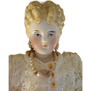 Beautiful Parian Lady with Blonde Sculpted Hair and Earrings