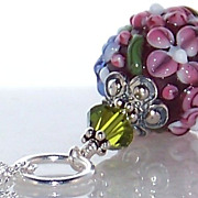 SOLD Spring- Easter- Mother's Day- Artisan Floral Lampwork Bead Bali Sterling Silver Pendant N