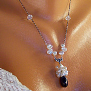 SALE Natural African Sapphire, Keshi Pearl Cluster, Moonstone, Sterling Silver Pendant Necklac