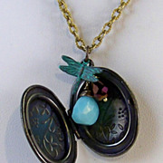 SOLD Vintage Brass Locket- Quartz Briolette- Verdigris Patina Dragonfly Charm Necklace- Artisa