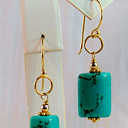 SOLD 24K GV Turquoise Drop Earrings- Jewelry Gift Her - Red Tag Sale Item