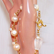 SALE Huge Cultured Pearl-Rock Crystal- 24K GV - Wire Wrapped Bracelet- Artisan Handmade Jewelr