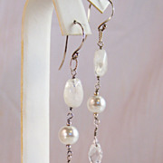 SALE Rainbow Moonstone- Akoya Shell Pearl- Crystal Drop/Dangle Handmade Wire Wrapped Earrings-