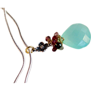 SALE Sale! Aqua Chalcedony Multi-Tourmaline Gemstone Cluster - Handmade Wire Wrapped Pendant N
