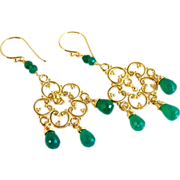 SALE Emerald Green Onyx Tear Drop Chandelier Earrings -24K Bali Gold Vermeil- Artisan Handmade