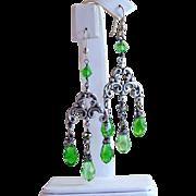 SALE Antiqued Peridot Swarovski Crystal Briolette Chandelier Silver Wrapped Earrings- Artisan
