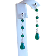 SALE Emerald Green Onyx Gemstone Briolette wire Wrapped Dangle/ Drop Earrings- Sterling Silver