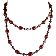 Long Knotted Necklace - Bordeaux / Burgundy Swarovski Pearls & Crystals- Necklace & Earring Se