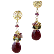 SOLD Ruby Tourmaline Gemstone Cluster Earrings- Bali Gold Vermeil- Artisan Handmade Gold Wrapp