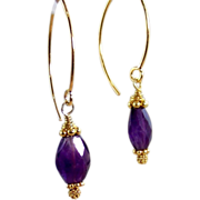 SALE Sale! 24k GV Bali -Purple Amethyst Gemstone Earrings- Gold Vermeil- Artisan Handmade ...