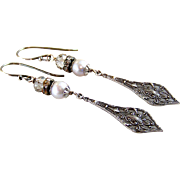 Assemblage Spoon Style Swarovski Crystal Gray Cultured Pearl Dangle Earrings- Antique/Vintage